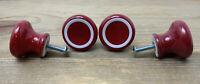 4 Vintage Red Porcelain Knobs with White Stripe Round Pulls + Screws Japan