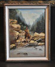Vintage Landscape Painting - Indian on Horseback Mountain Creek - Robert Bolster