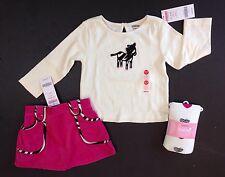 NWT Gymboree Wild One 18-24 Ivory Zebra Tee Pink Velveteen Skort Skirt & Tights