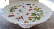 """Lenwile Ardalt Butterflies and Strawberries 9.25"""" Cake Stand Trimmed in Gold"""