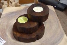 Kerzenleuchter für 2 Teelichter aus Teakholz Kerzenständer Teelichhalter