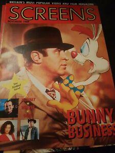 SCREENS MAGAZINE NOVEMBER 1989 ROGER RABBIT ELM STREET VHS RENTAL VIDEO MAGAZINE