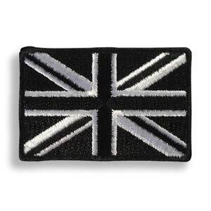 """Small 2"""" British UK Flag Black and White Sew or Iron on Patch Biker Patch"""