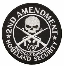 HOMELAND SECURITY 2ND AMENDMENT SKULL GUNS ROUND NRA GUN  PATCH