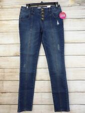 eb9289ca1c9 Women s Bongo Med Wash Distressed SKINNY Button Fly Blue Jeggings Jeans - 3