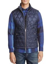 NEW $495 Burberry London Men Diamond Quilted Powell Navy Blue Vest, US 40/ EU 50