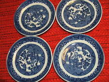 SET OF 4 VINTAGE SAUCERS by ALLERTONS ENGLAND WILLOW BLUE  ESPRESSO SAUCERS