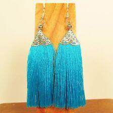 "3""Long Turquoise Aqua Blue Tassel Bohemian Style Handmade Dangle Earring"
