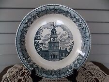 """Vintage Royal China Colonial Heritage Blue Clock Tower 10"""" Pie Plate"""