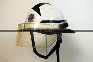 Englischer Feuerwehrhelm mit Visier Vintage - Carins Helmets Fireman - White