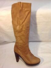 Next Brown Knee High Leather Boots Size 4