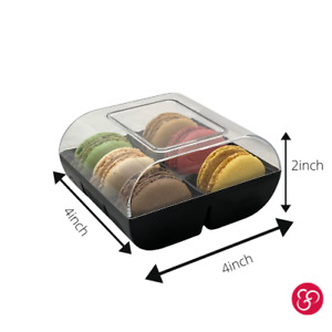 Clear Black Macaron Box 6pcs Plastic Cookie Packaging 6-pack