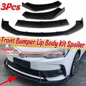 3Pcs Front Bumper Lip Spoiler Splitters Matte Black For Toyota Corolla 2009-2020