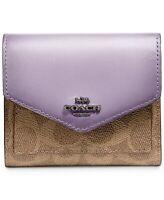 New COACH Small Signature Wallet V5/tan Soft Lilac