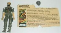 1982 GI Joe Vamp Driver Clutch Straight Arm v1 Figure & File Card *Complete READ