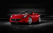 "RED FERRARI CALIFORNIA A4 CANVAS PRINT POSTER 11.7""x7.6"""