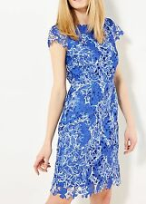 WHITE STUFF WOMENS 'BELLE' BLUE & WHITE FLORAL LACE PENCIL DRESS *UK 10*