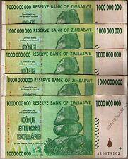 5 x 1 Billion Zimbabwe Dollars Banknotes AA 2008 5PCS Currency Paper Money Lot
