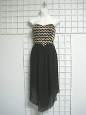 A Byer Size Junior 11 Strapless Dress in Gold and Black with Belt New with Tags