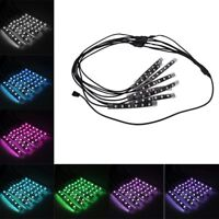 RGB 8pc LED Neon Strip Light Remote Control For Car Interior Motorcycle Lighting