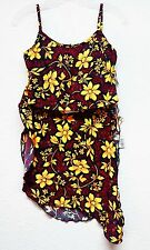 Tankini Top Sarong Set Swimwear De La Mer Floral Multi-Color Size M