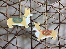 Gisela Graham Royal Corgi Wood Dog Christmas Decoration Red/blue 9cm Red