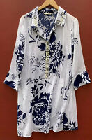 Soft Surroundings 1X Tunic Top Le Jardin Blue White Floral Sheer Beaded Shirt