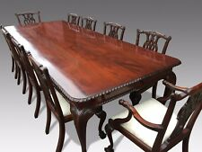 Exquisite 10ft Chippendale Style Brazilian Mahogany Dining Set French Polished