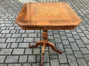 Extravagant Antique Chess Table Marquetry Um 1860 With Elaborate Foot 2-tlg