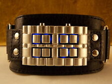 HARD ROCKER ARMBAND UHR BINARY BLAU LED BREIT LEDER Jay Baxter HYPER DIGITAL!