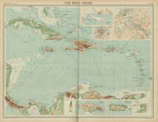 West Indies & Caribbean. Panama Canal. Relief. THE TIMES 1922 old vintage map