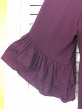3X New Plum Dark Purple Knit Tee Tunic Peasant Top Blouse Ruffles 22/24/26