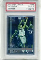 1997-98 TOPPS CHROME TIM DUNCAN #115 SPURS ROOKIE CARD RC PSA 9 MINT