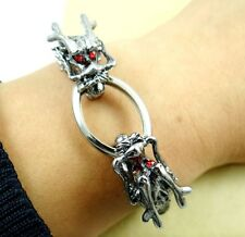 Punk Rock Mens Dragon Cord Black Leather Skull Wristband Bracelet Bangle Cuff