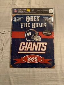 """New York Giants NFL Embossed Metal Wall Sign 15""""x12"""" Party Animal Brand New"""