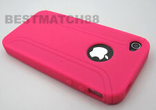for iPhone 4 4s phone soft silicone case rugged hot pink plus screen protector