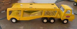"VINTAGE YELLOW TONKA MINI CAR HAULER TRACTOR TRAILER TRANSPORT TRUCK 9"" Toy"
