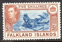 Falkland Islands1938 blue/chestnut 5/- multi-script perf 12  mint  SG161