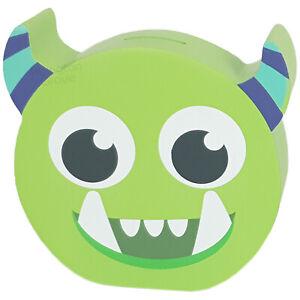 Childrens Wooden Monster Money Box Piggy Bank Kids Bedroom Decor Savings Gift