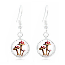Cute Mushroom glass Frea Earrings Art Photo Tibet silver Earring Jewelry #117