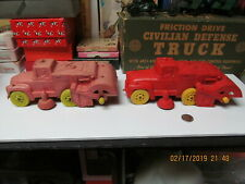 """AUBURN RUBBER 2 STREET SWEEPERS CLEANERS LARGE SANITATION TRUCKS 1950's - 8.5"""""""