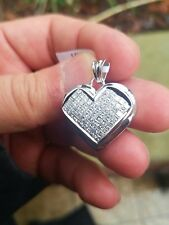 Heart Pendant 14k White Gold Princess Cut Diamonds 2.75ct NEW Invisible Set