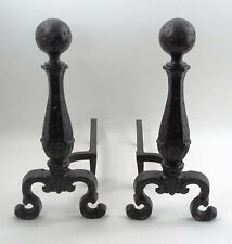 Hammered Heavy Cast Iron Colonial Cannonball Fireplace Log Andirons Fire Dogs