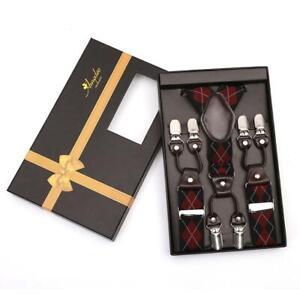 Red Black Check Strap Dual Clip On Elastic suspenders for Men - Adjustable Y Str