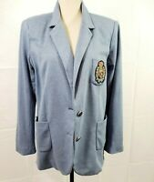 Diane Gilman DG2 Dark Wash Pinstriped CRESTED Womens Blazer Jacket Size L