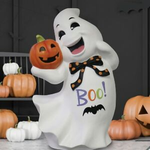 Halloween 2ft (63.5cm) Ghost With Jack O' Lantern New Party Hand Painted