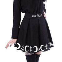 Women Fashion Gothic Punk Witchcraft Moon Magic Spell Symbols Pleated Mini Skirt