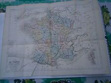 Carte 19° 1852  couleur atlas Malte brun Grande carte de la France