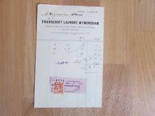 Friarscroft Laundry Wymondam 1927 Original Receipt / Invoice with Period Stamp