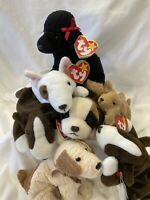 Lot of 7 Ty Beanie Babies Dogs-Puppies BRUNO, GIGI, RUFUS, BUTCH, BERNIE and...